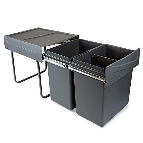 EMUCA - Cubos de Basura con fijación Inferior para Cocina, 2 contenedores de Reciclaje extraibles de 20 L, Capacidad Total 40L (2 x 20 L), Acero y plástico, Gris Antracita.