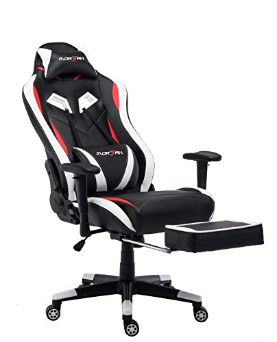 MORFAN Computer-Bürostuhl mit kostenloser Massage- und Schaukelfunktion, Gaming-Stuhl mit einziehbarer Fußstütze und Kissen im Rennstil, ergonomisches Design, Schreibtischstuhl (weiß)
