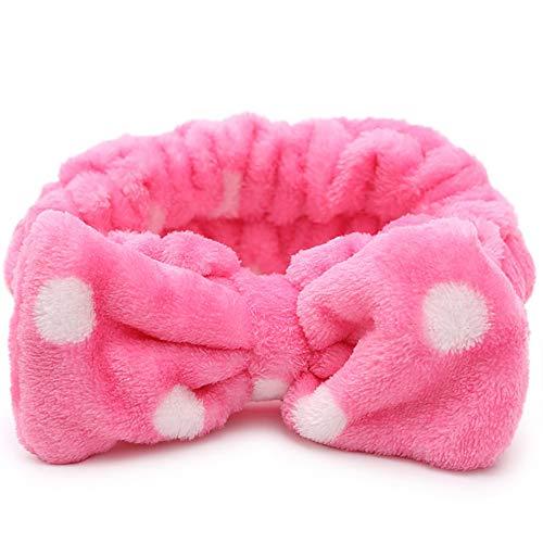 Fliyeong 1 banda elástica para el pelo para niñas con lazo, suave y forro polar, para el hogar, para el maquillaje, lavado de la cara, deportes, color rosa, conveniente y práctico