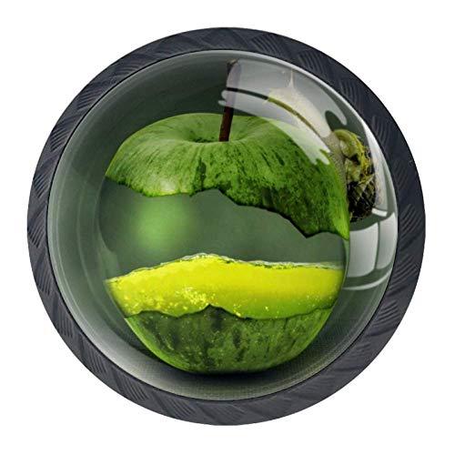 Maniglie per cassetti dorate, 4 pezzi, maniglie per armadietto da cucina, decorazione di accessori, Verde mela, 3.5×2.8CM/1.38×1.10IN
