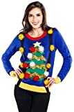 Tipsy Elves Women's Ugly Christmas Sweater - Decorated Christmas Tree Blue Holiday Pullover Size Medium
