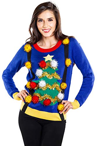 Tipsy Elves Women's Ugly Christmas Sweater - Decorated Christmas Tree Blue Holiday Pullover Size X-Large