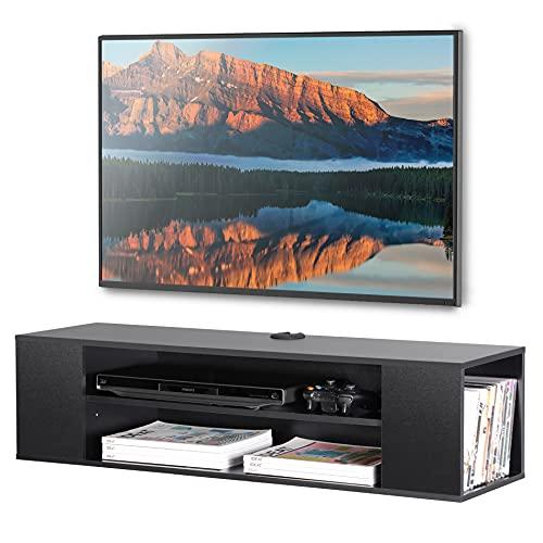 FITUEYES Meuble TV Suspendu Noir Meuble TV Flottant avec 3 Compartiments Ouverts pour/DVD/CD/AV Equipement Meuble TV 100 cm pour Salon, Bureau, Divertissement