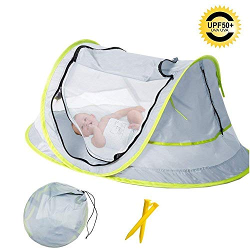 Liyatej Baby Beach Tent, with A Brim Sun Protection Hat, Portable Baby Travel Tent UPF 50+ Infant Sun Shelters Pop Up Folding Outdoor Bed Baby Shade with Mosquito Net with 2 Pegs, Baby Gear for beach,