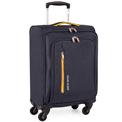 Soft Shell 21 Inch Suitcase with x4 Spinner Wheels - Cabin Jet2 EasyJet BA Luggage by Pierre Cardin | Fits 56x45x25 Hand Carry On | 21' 29L Light 2.0kg (Small 4 Wheels, Grey & Orange)