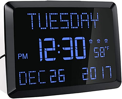 Digital Wall Clock, 11.5' Extra Large Display Calendar Alrm Day Clock with Date and Day of Week, Temperature, USB Charger & 3 Alarms, LED Desk Clock for Office,Living Room,Bedroom,Elderly