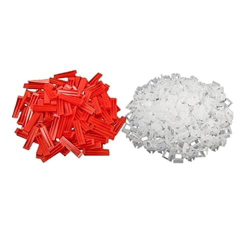 300 unids espaciadores de azulejos de baldosas de cerámica de plástico Nivelación de 200 clips +100 cuñas de azulejos Herramientas de pisos con cuñas clips (Color : Red Transparent)