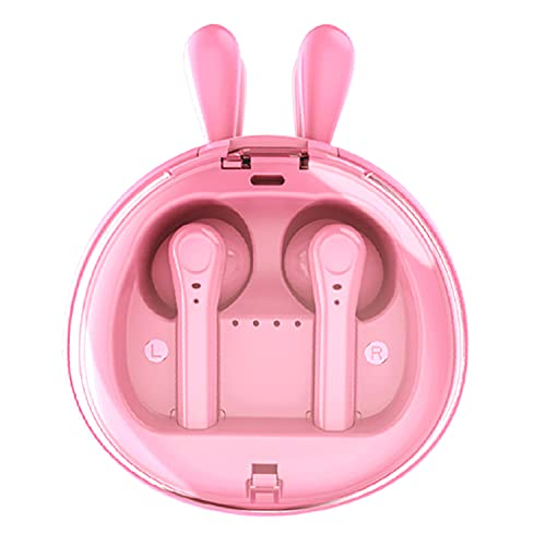 Kids Wireless Earbuds with Charging Case, Cute Pink Rabbit Cartoon Earphones, Bluetooth 5.0 TWS HiFi Stereo Sound Noise Reduction Waterproof Sport Headphones for Boys/Girls, Built-in Mic(Pink)