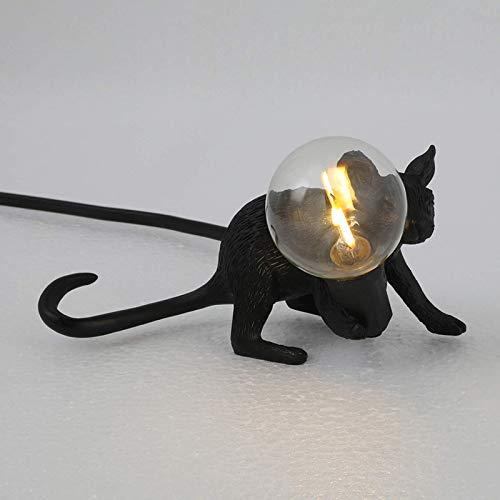 Palm kloset Lámpara de Mesa de Resina con Forma de ratón, lámpara de Mesa para la decoración de la cabecera de la habitación del hogar (Color:Sentado, Tama?o:Blanco) (Color : Black, Size : Lie Down)