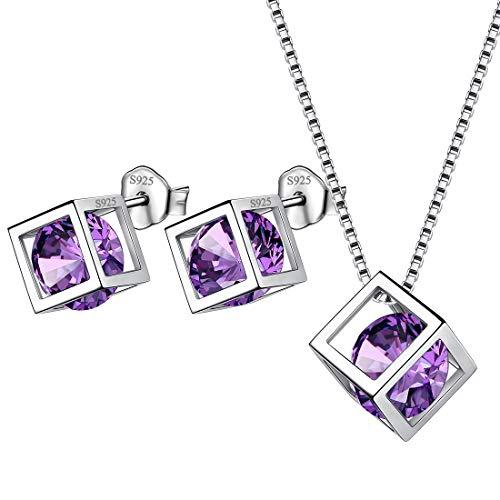 Aurora Tears - Juego de collar y pendientes de plata de ley 925 para mujer, personalizables