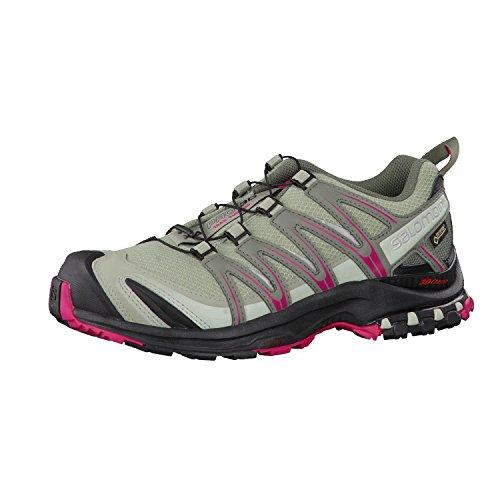 Salomon Femme XA Pro 3D GTX, Chaussures de Trail Running, Imperméable, Gris (Shadow/Black/Sangria), Taille 37 1/3