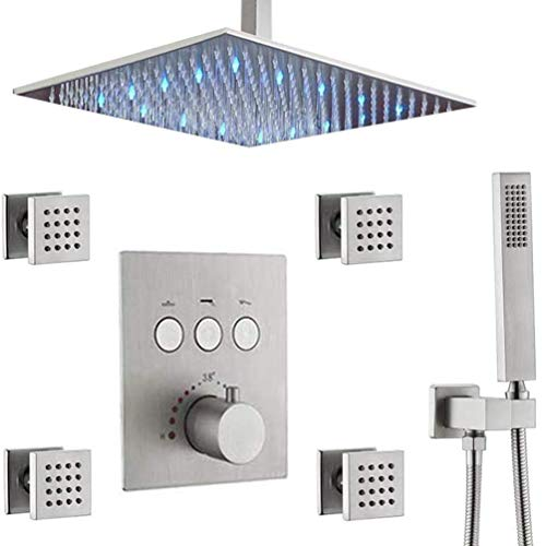 Brushed Nickel 12' Thermostatic LED Rain Shower System with Body Sprays Handheld and Mixer Valve Bathroom Faucet Combo (Multiple Heads Can Run At a Time)