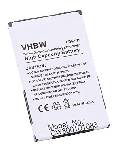 vhbw Li-Ion Akku 1100mAh (3.7V) für Handy, Telefon, Smartphone HTC Hero, Smart, Tatoo, Touch Diamond 2, T-Mobile MDA Compact 5 wie BA-S360, BA-S380.