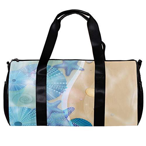 Bolsa de deporte redonda con correa de hombro desmontable conchas de mar playa fondo azul bolsa de entrenamiento para mujeres y hombres