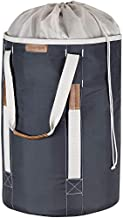 CleverMade Backpack Laundry Duffle Bag Tote with Comfortable Shoulder Straps and Durable Handles - Extra Large Capacity Polyester Clothes Hamper with Drawstring Top Closure Lid, Charcoal