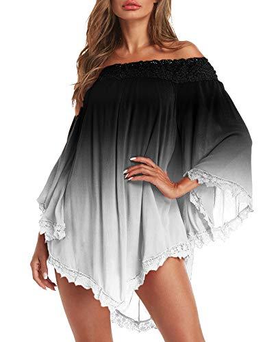 ZANZEA Vestidos Mujer Verano Corto Sexy Sin Hombros Vestido Playa Vintage Mangas Largas Encaje Irregular Elegante Casual 02-Negro XXL