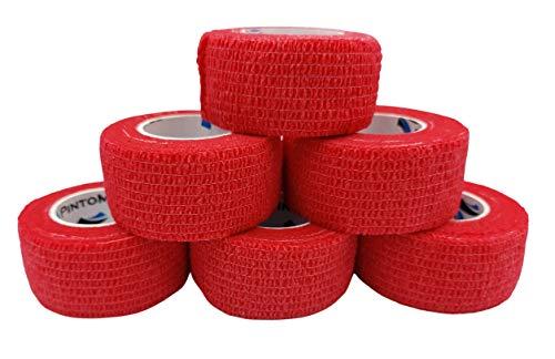 PintoMed - Venda Cohesiva - Rojo - 6 Rollos x 2,5 cm x 4,5 m Autoadhesivo Flexible Vendaje, Primeros Auxilios, Lesiones