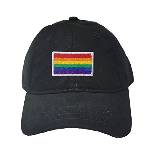 Adjustable Black Adult Rainbow Gay & Lesbian Pride Flag Embroidered Deluxe Dad Hat