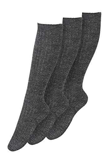 Chaussettes montantes chaudes en laine de ski pour homme avec semelle en peluche, Gris, 3 paires, Homme, 3-600, Anthrazyt, 39/42