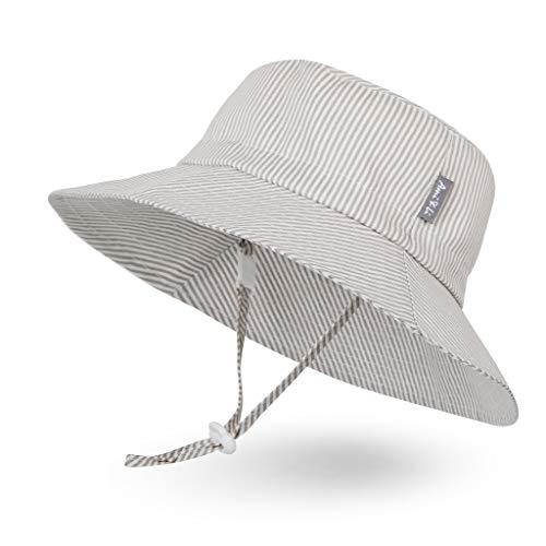 Sombrero de Sol para Bebé Niña Niño Infantil Niños Pequeños Unisexo Ajustable Sombrero Bob Protección Solar UPF 50-M:Rayas Marrones