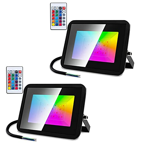 Vuggsner Faretto LED Esterno 2er 30W RGB Proiettore con Telecomando, Colorato Dimmerabile Faro 16 Colori 4 Modalità, Funzione di Memoria Impermeabile IP66, per Giardino Cortile Garage Interno Esterni