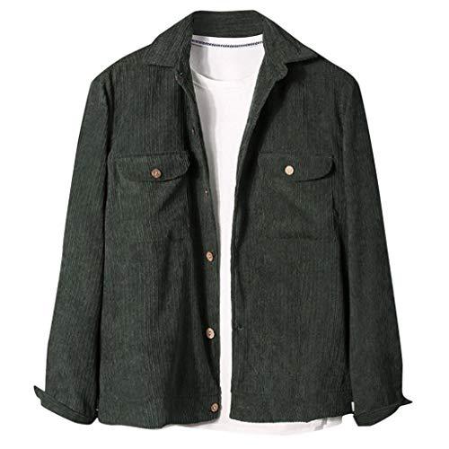 ZHANSANFM Herren Cordhemd Einfarbig Langarm Freizeithemd mit Taschen Hemd Down Herbstmode Shirts Jacke Männer Große Größen Langarmshirt Beiläufige Cord Tunika Tops Button (L, Grün)