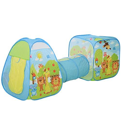 HOMCOM Casa de Juegos para Niños Myores de 3 Años Tienda de Campaña Infantil Diseño 3 en 1 Plegable con Túnel Sistema Pop-up Gran Espacio Divertido Multicolor 230x74x93cm
