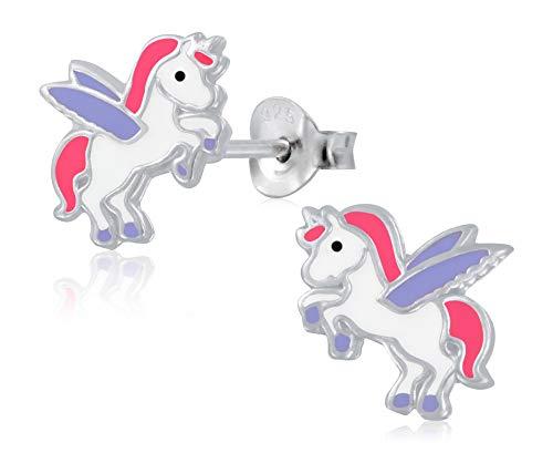 Laimons Pendientes infantiles para niñas, pendientes de unicornio Pegaso, color blanco, lila y rosa, plata de ley 925