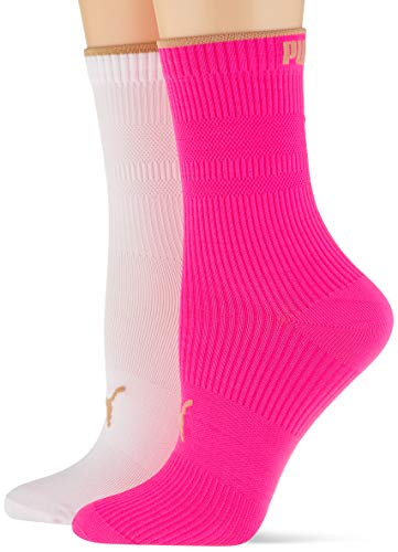 PUMA womens Women's Ribbed (2 pack) Casual Sock, pink, 39/42 (2er Pack)