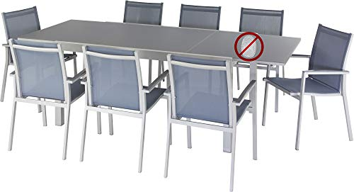 ib style® - Premium Gartenmöbelset Florence - Mit innovativer Anti-Fingerprint Tischplatte aus satiniertem ESG Glas Stapelstühle + XXL Ausziehttisch 160-240 cm/100 cm