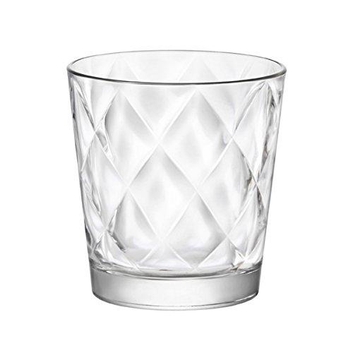 takestop Bicchieri Bicchiere Trasparente Kaleido in Vetro 6 Pezzi da TAVOLA Design Rombi Acqua Vino Bevanda Calda