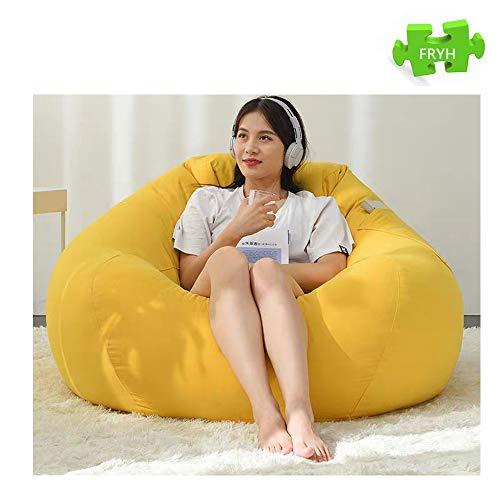 FRYH Spiel Liegestuhl Riesigen Sitzsack Doppel-Reißverschluss-System Teflon Beschichtetes Polyester Virgin Bean Indoor/Outdoor,Yellow