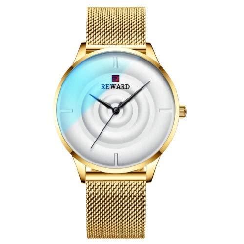 CHICAI Reloj de pulsera de acero inoxidable para hombre, color brillante, color dorado, para hombre
