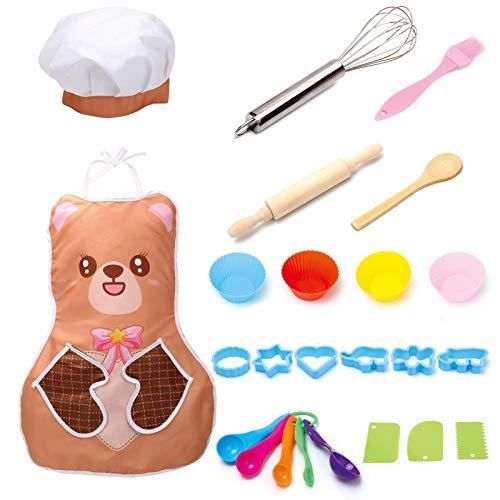 Rubyu-123 Set de cocina para niños, 25 piezas, juego de utensilios de cocina para niños, delantal y gorro de chef, disfraz de cocina, juego de rol, hornear pasteles para niñas