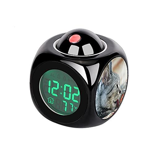 Proyección Digital Niños Negro Despertador LED Proyector Temperatura Termómetro Escritorio Hora Fecha Pantalla Mesa Reloj Gris y Negro Tabby Gato Lamiendo Reloj Gris