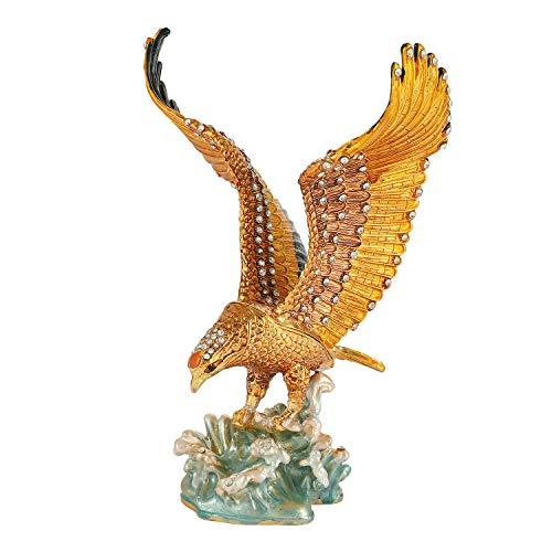 QIFU Schmuckkästchen im Vintage-Stil, handbemalt, Adlerform, mit reichhaltiger Emaille und funkelnden Strasssteinen, einzigartiges Geschenk, Heimdekoration, tolles Ornament Ihrer Sammlung