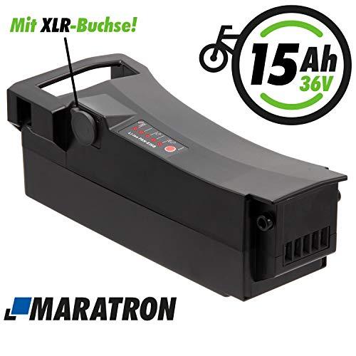 Maratron E-Bike Akku 36V 14,5Ah (520Wh) mit XLR-Buchse für Impulse, DerbyCycle, Raleigh, Kalkhoff Gazelle u.v.m.
