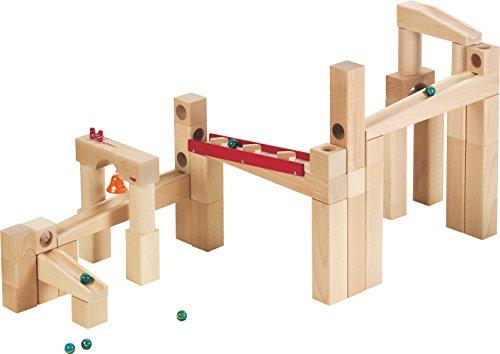 Haba 1136 - HABA Kugelbahn-Bausatz, Holzkugelbahn für Kinder ab 4 Jahren, mit 42 Teilen