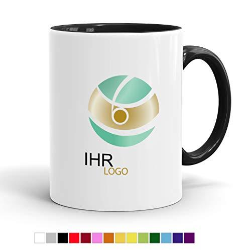 Tasse mit Ihrem Logo Bedrucken - Werbe-Tasse mit Wunsch-Motiv - Digitaldruck Staffelpreise - Spülmaschinenfest (Innen schwarz)