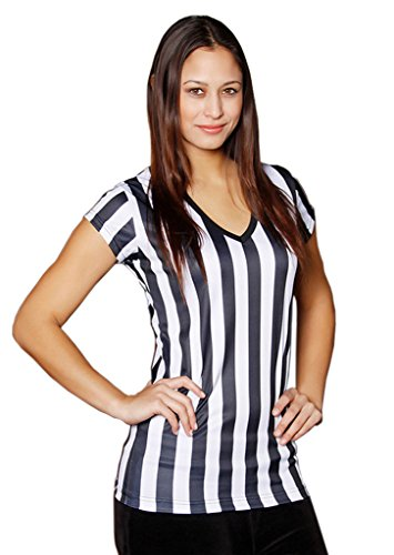 Womens Referee Shirts | Comfortable V-Neck Ref Shirt for Waitresses, Refs, More- Black/White L,Black/White,Large