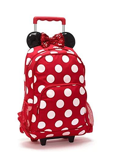 Disney Store Minnie Mouse - Mochila con ruedas, diseño de lunares, color rojo y blanco