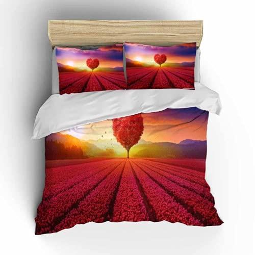 Love Quilt Set, (Funda nórdica para parejas) 100% fibra, juego de tres piezas para todas las estaciones (L2,200 x 200 cm + 80 x 80 cm x 2)