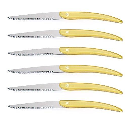 FlyingColors Laguiole Style Steak Knife Set, Unique Design, Stainless Steel, Yellow Color Handle, 6 pieces.