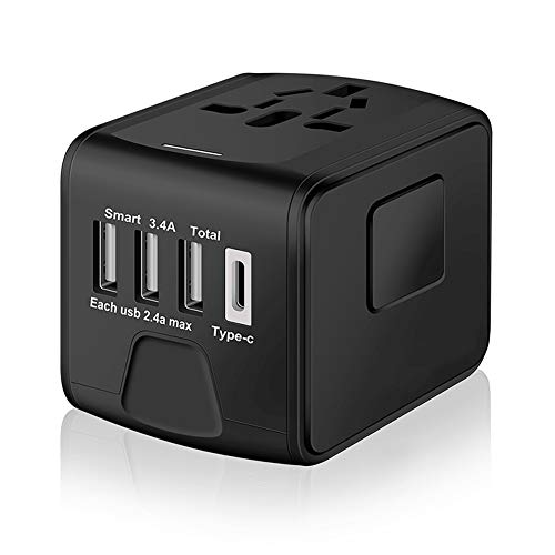 SAUNORCH Universal International Travel Power Adapter W/ High Speed 2.4A USB, 3.0A Type-C Wall...