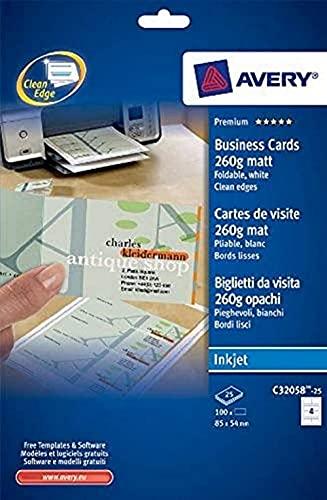 Avery Dennison 803395 - Tarjetas de visita - Pack de 100, 170 x 54 mm