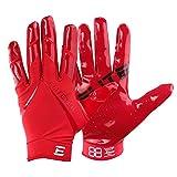 Kids EliteTek RG-14 Super Tight Fitting Football Gloves - Youth Sizes - Easy Slip On Design No Wrist Strap (Red, Youth XS)