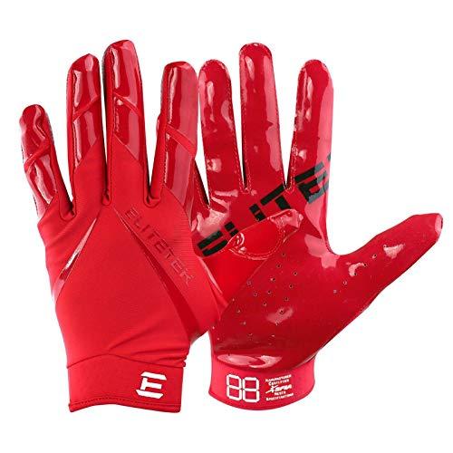 Men's Football Gloves - EliteTek RG-14 Super Tight Fitting Football Gloves - Easy Slip On Design No Wrist Strap for Men(Red, Adult XL)