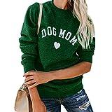 ECMQS – Sudadera para mujer – Perro Maman Tee Shirt con letra estampada – Sudadera para mujer con estampado en forma de corazón Kawaii medium verde