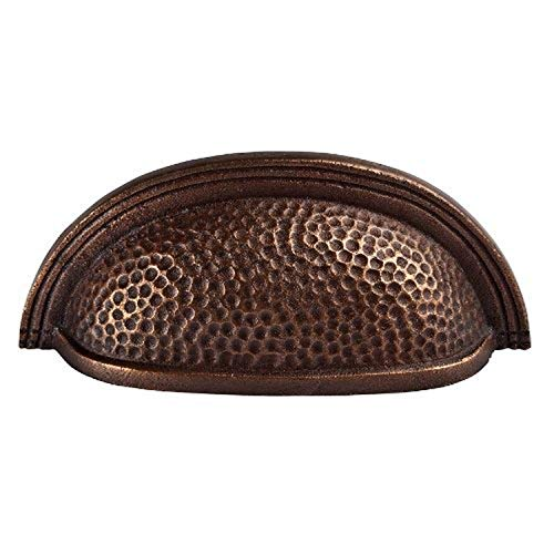 The Copper Factory CF117AN Solid Cast Copper Oval Bin Pull On 3.5-Inch Centers, Antique Copper,Large