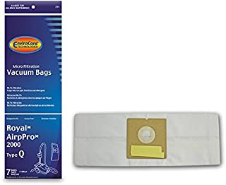 EnviroCare Replacement Micro Filtration Vacuum Bags for Royal ArioPro 2000 Type Q Canisters 7 Pack with 1 Filter